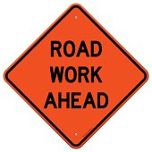 Orange road work ahead sign isolated on white background