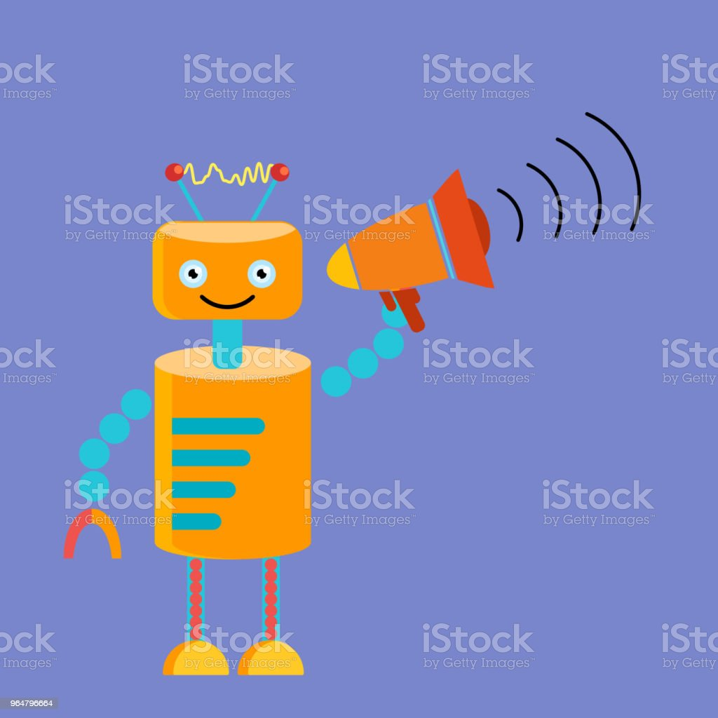 Orange robot with megaphone in hand royalty-free orange robot with megaphone in hand stock vector art & more images of broadcasting