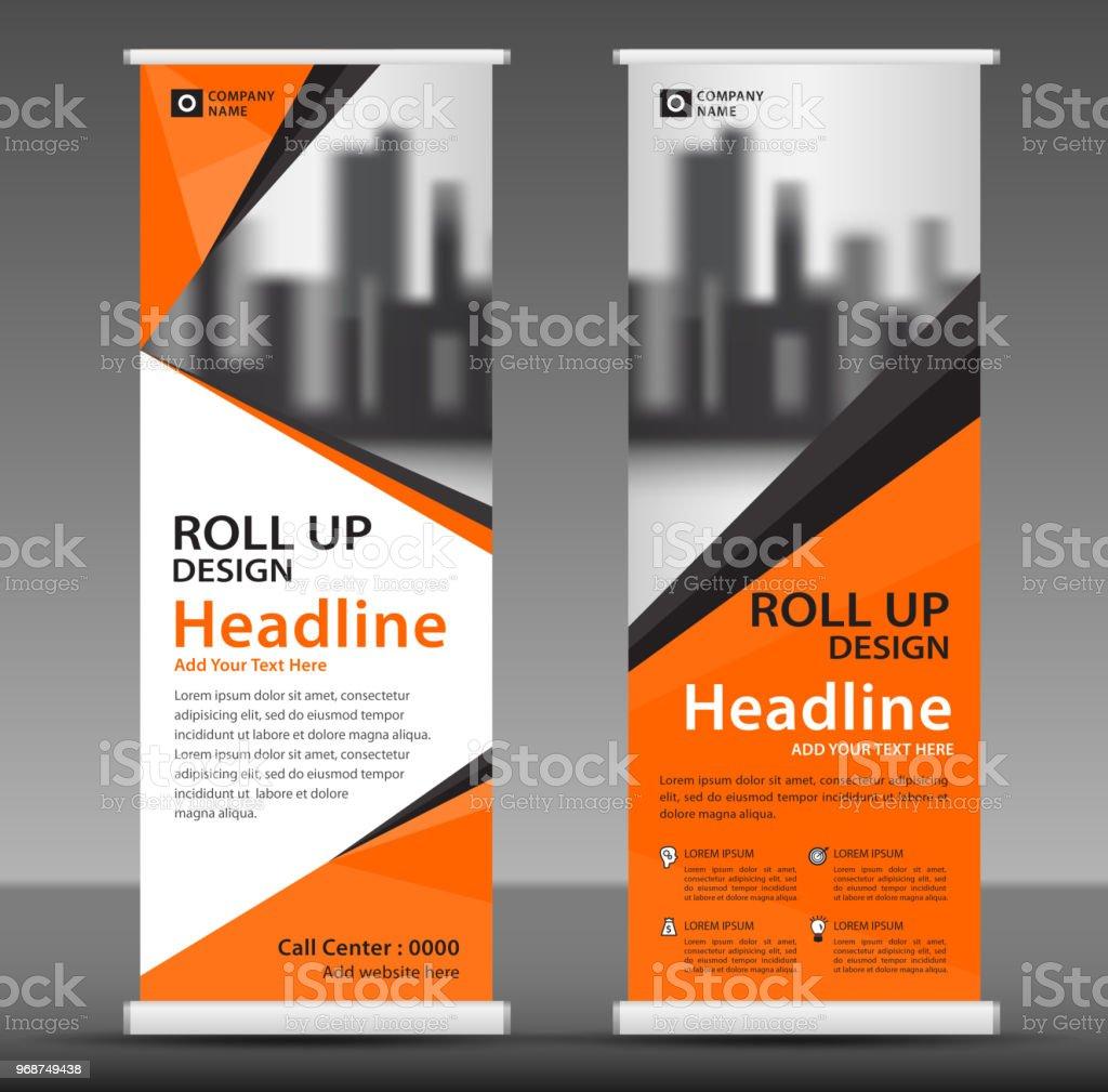 Orange Roll Up Banner Template Vertical Banner Design Poster ...