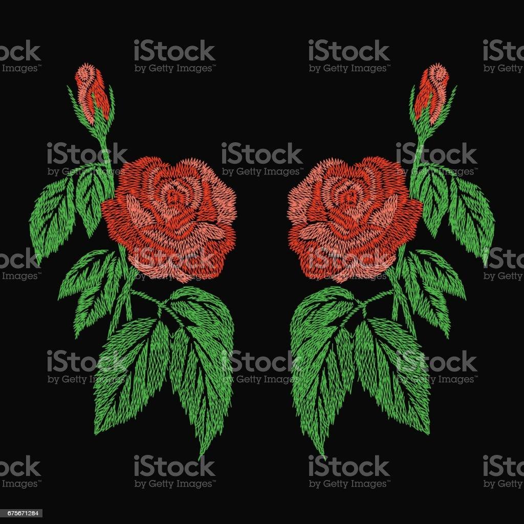 conception d'oeuvre de broderie rose orange pour l'habillement, fleur isolée vecteur conception doeuvre de broderie rose orange pour lhabillement fleur isolée vecteur – cliparts vectoriels et plus d'images de arts culture et spectacles libre de droits