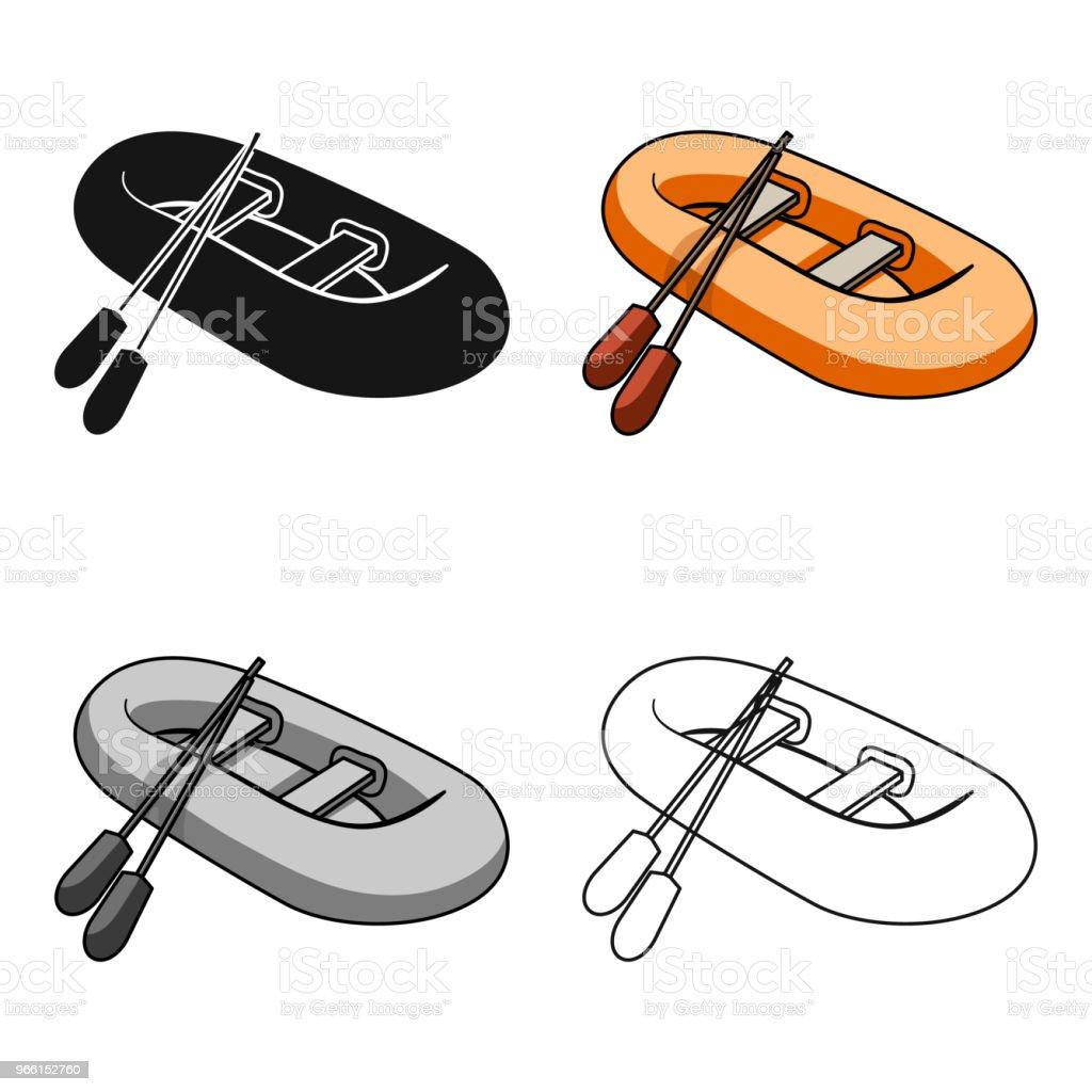 Orange gummi livbåt. Båten, som väger på sidorna av stora båtar för räddningsaktionen. Fartyget och vatten transport enda ikon i tecknad stil vektor symbol lager web illustration. - Royaltyfri Aktivitet vektorgrafik