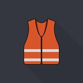 Orange safety vest icon with long shadow on gray background, flat design style
