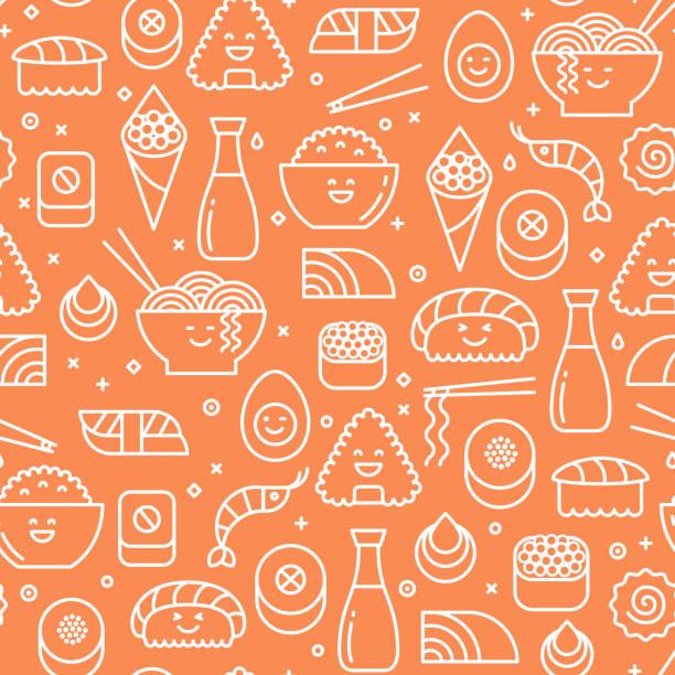bildbanksillustrationer, clip art samt tecknat material och ikoner med orange sömlösa mönster med japanska köket - sushi
