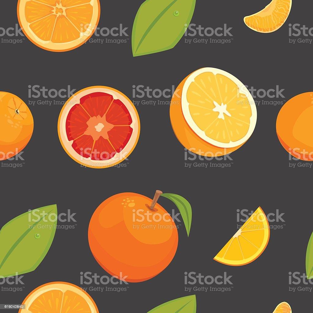 Orange Seamless Vector Pattern On White Background Fruit Wallpaper