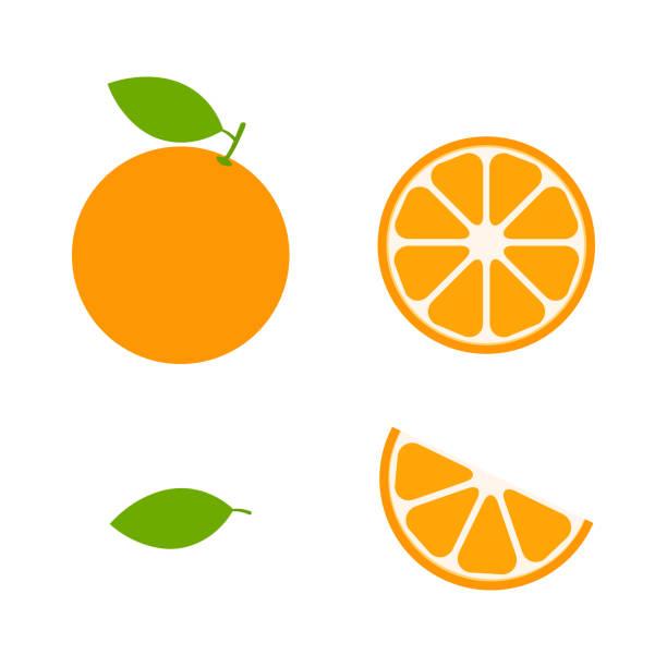 bildbanksillustrationer, clip art samt tecknat material och ikoner med orange uppsättning vektor ikon illustration isolerad på vitt. - apelsin