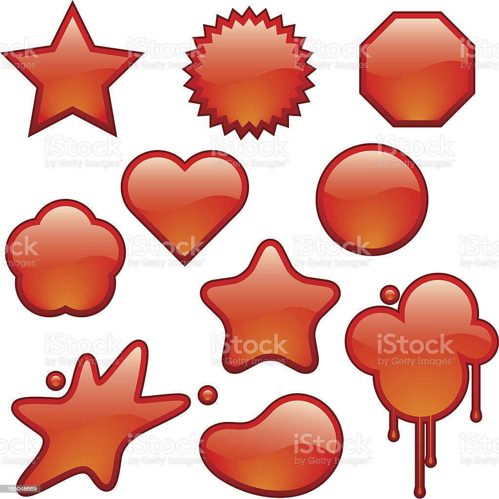 orange shiny badges royalty-free stock vector art