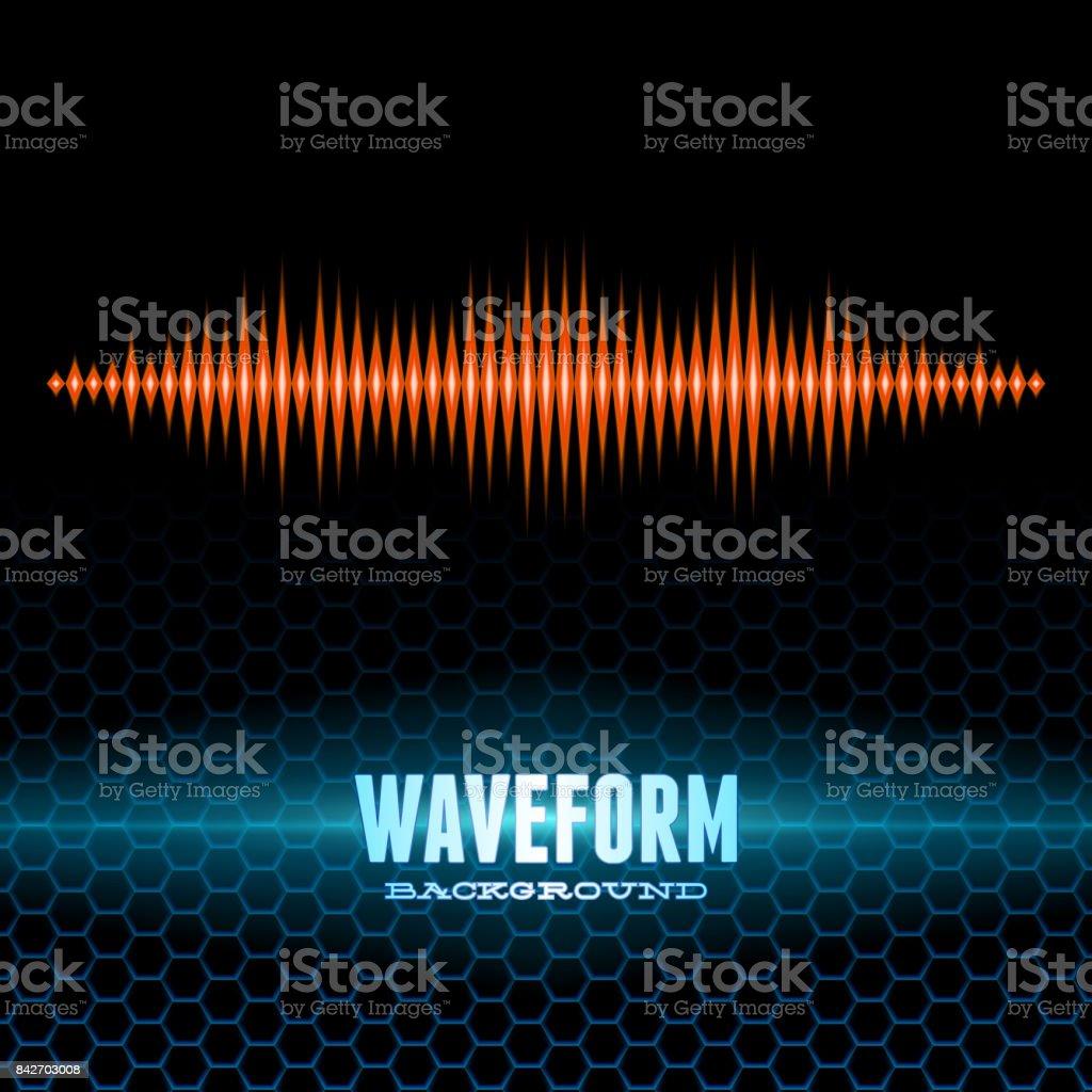 Orange shiny sound waveform on hex grid vector art illustration