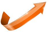 Orange shiny UP arrow. Vector 3d illustration isolated on white background