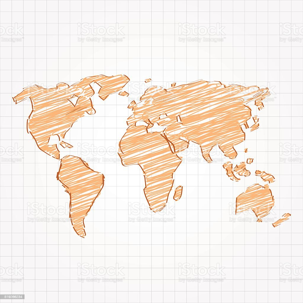 Orange sketched world map on grid background stock vector art more orange sketched world map on grid background royalty free orange sketched world map on grid gumiabroncs Gallery