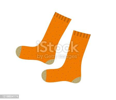istock Orange socks cartoon illustration 1218604174