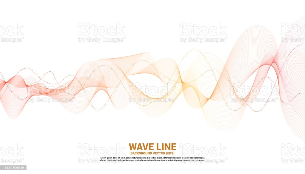 Orange Sound Wave Line Curve On White Background Stock