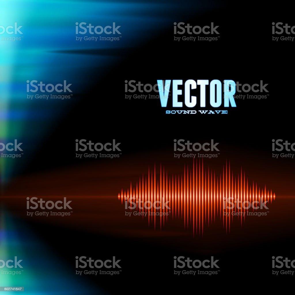 Orange sound waveform on polar lights background vector art illustration