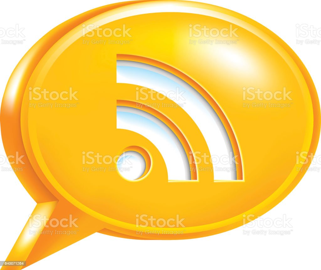 Orange Speech Bubble Icon RSS Sign or Wi-Fi Signal vector art illustration