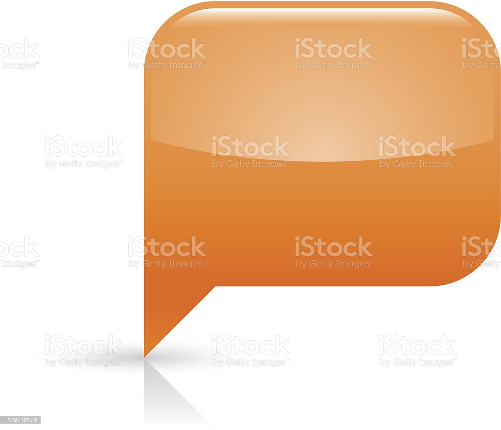 Orange speech bubble sign glossy icon rectangle pictogram white background royalty-free stock vector art