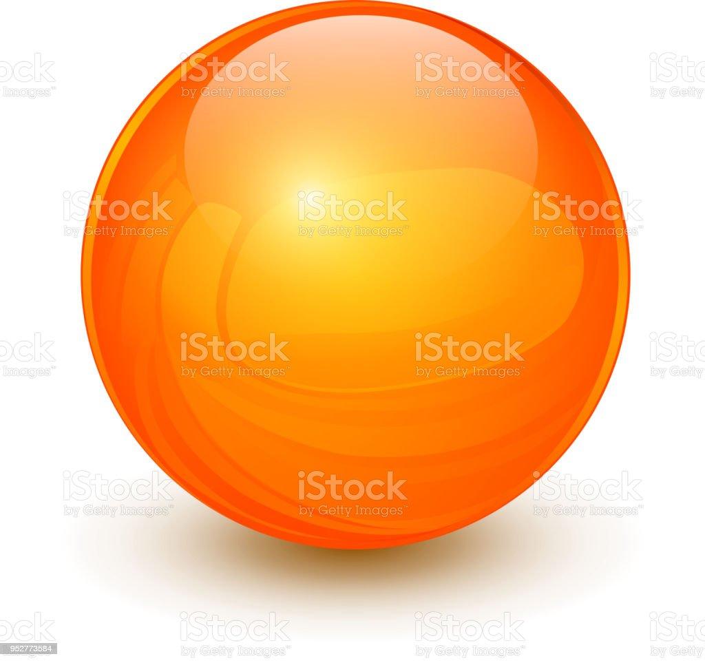 Naranja la esfera 3D - ilustración de arte vectorial
