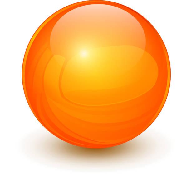 illustrazioni stock, clip art, cartoni animati e icone di tendenza di orange sphere 3d - sfera lucida