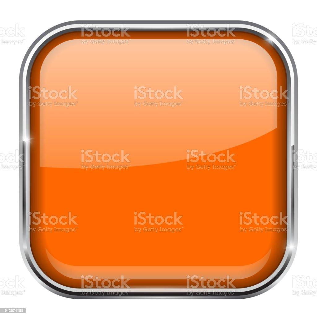 Botón Cuadrado Naranja Brillante Icono 3d Con Marco De Metal - Arte ...