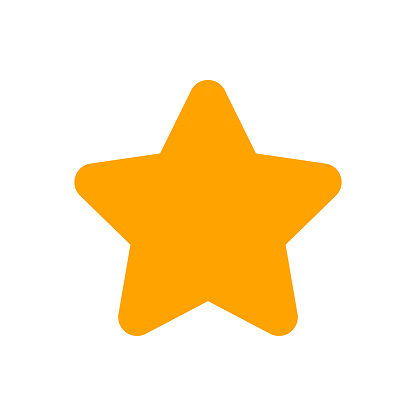 orange star shape sign isolated on white, one star cute yellow gold color, bright 1 star icon for clip art for element graphic, illustration star simple shape for rating vote symbol