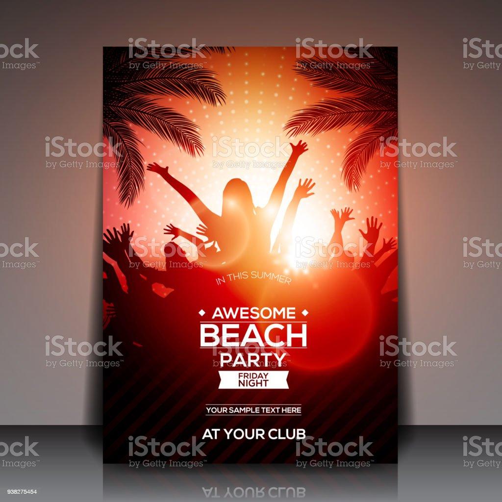 Orange Summer Beach Party Flyer Template Vector Design Stock Vector