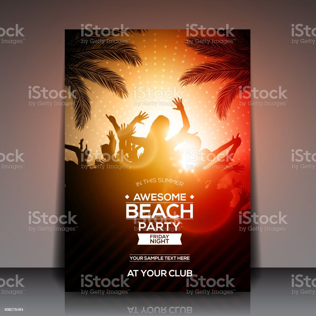 Orange Sommer Beach Party Flyer Vorlage Vektordesign Stock Vektor ...