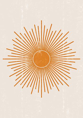 Orange Sun print boho minimalist printable wall art
