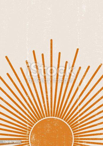 istock Orange Sun print boho minimalist printable wall art 1264879554