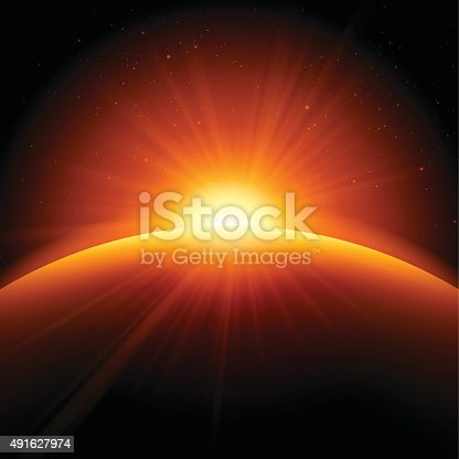 Abstract globe earth edge sunrise background concept. EPS 10 file. Transparency effects used on highlight elements.