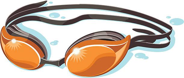 orange swim goggles orange swim goggles with shadow and drops of water swimming goggles stock illustrations