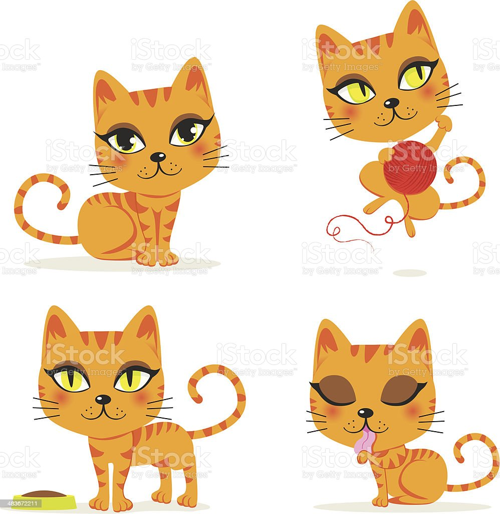 Orange Tabby Cat vector art illustration