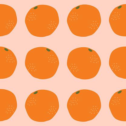Orange tangerines on a pastel background. Organic fruit seamless pattern.