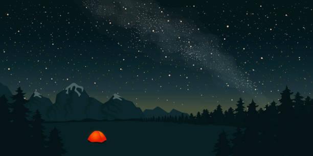 orange zelt mit einem brennenden licht im inneren steht in einer lichtung unter dem sternenhimmel.  am horizont berge und wald. konzept eines schönen sternenhimmels und der milchstraße. vektor-illustration - milky way stock-grafiken, -clipart, -cartoons und -symbole