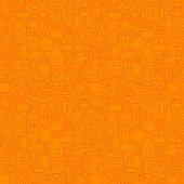 Orange Thin Line Kitchen Utensil and Cooking Seamless Pattern. Vector Website Design and Seamless Background in Trendy Modern Outline Style. Kitcheware and Appliances.