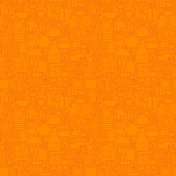 Orange Thin Line Kitchen Utensil and Cooking Seamless Pattern Orange Thin Line Kitchen Utensil and Cooking Seamless Pattern. Vector Website Design and Seamless Background in Trendy Modern Outline Style. Kitcheware and Appliances. cooking patterns stock illustrations