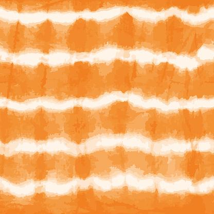 Orange tie dye stripes seamless vector pattern. Shibori print. Textured japanese background. Modern batik wallpaper tile. Watercolor endless backdrop for fabric, wallpaper, scrapbooking projects, swimmwear.