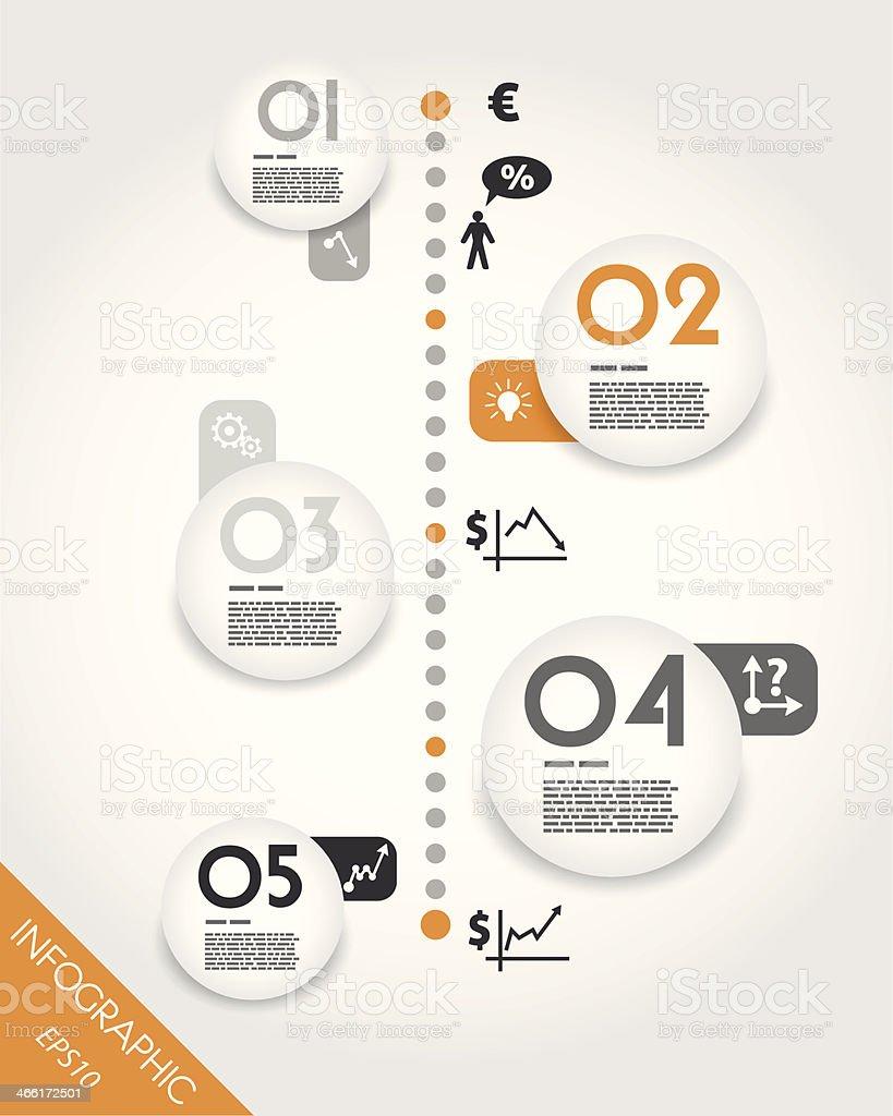 orange timeline with big globe units royalty-free stock vector art