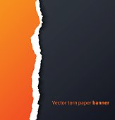 Orange torn paper with drop shadows on dark background