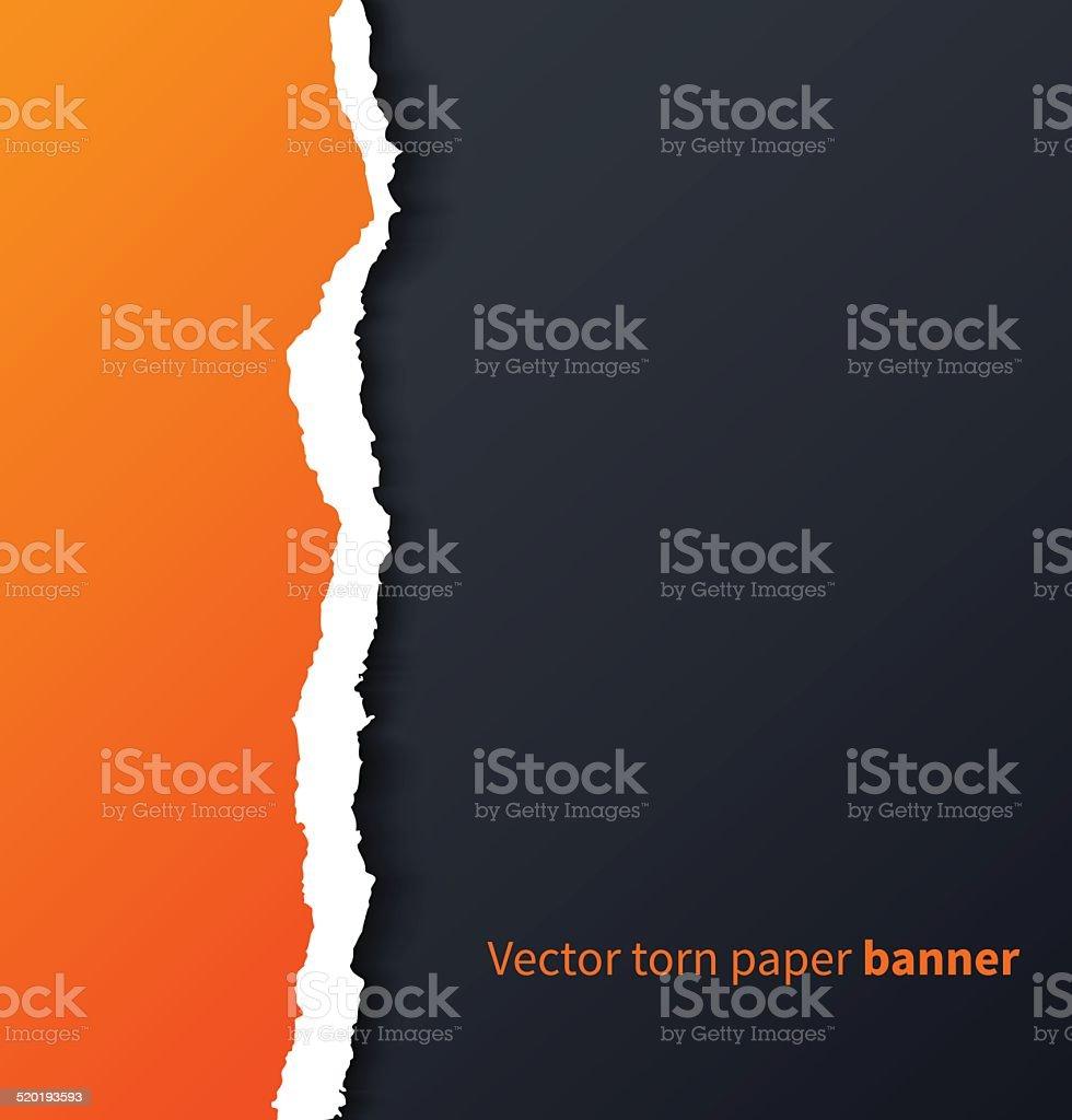 Orange torn paper with drop shadows on dark background vector art illustration