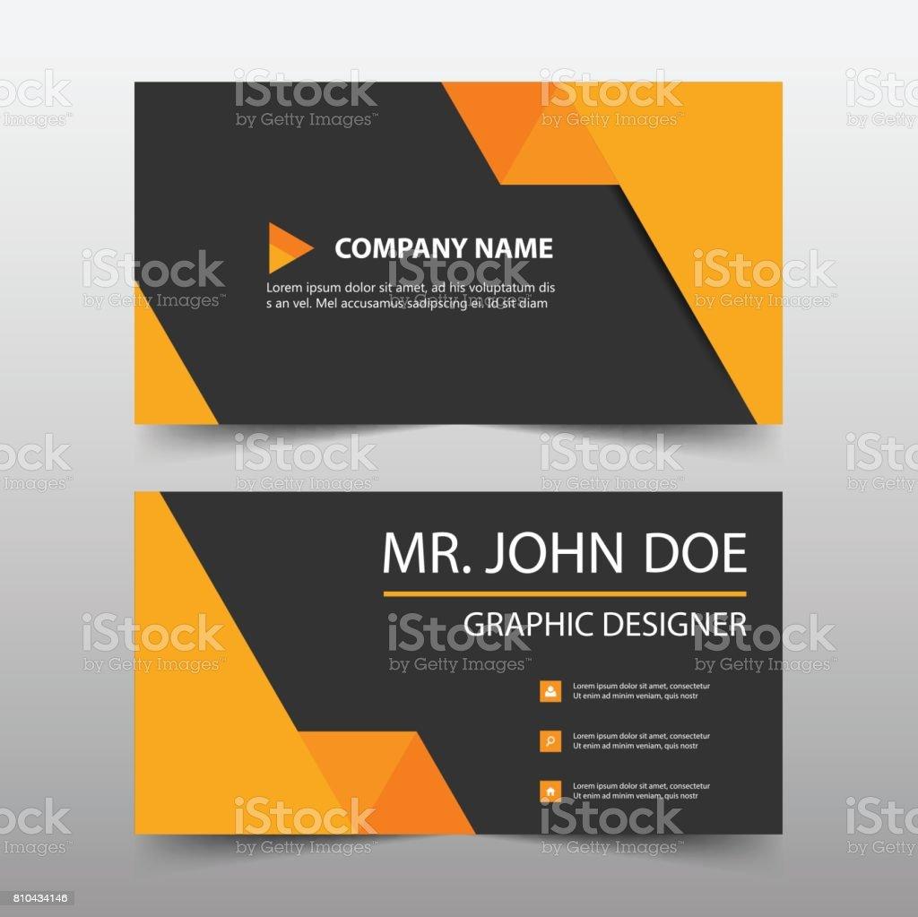 Carte De Visite Entreprise Triangle Orange Modle Nom Simple Horizontal