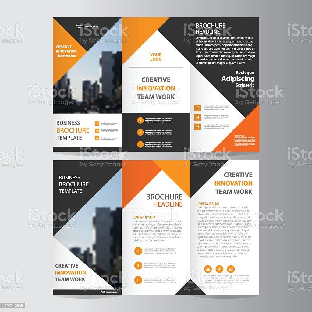 Orange Triangle Elegance Business Trifold Business Leaflet - Tri fold business brochure template