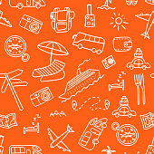 Seamless pattern with hand drawn travel icons. Orange vacation background. Vector illustration.