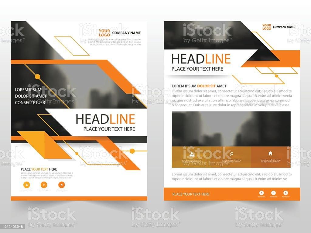 Orange Vector Annual Report Leaflet Brochure Flyer Template Design ...
