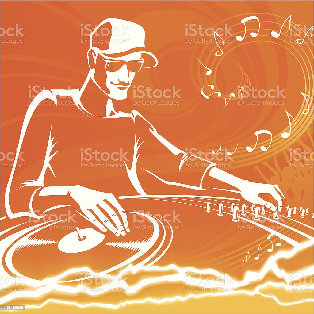 DJ orange vector art illustration