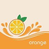Orange fruits and splashing juice on orange background. Vector illustration banner design or poster.