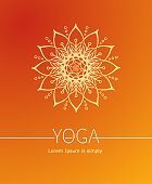 Orange Vector poster or cover for Yoga or Wellness center.