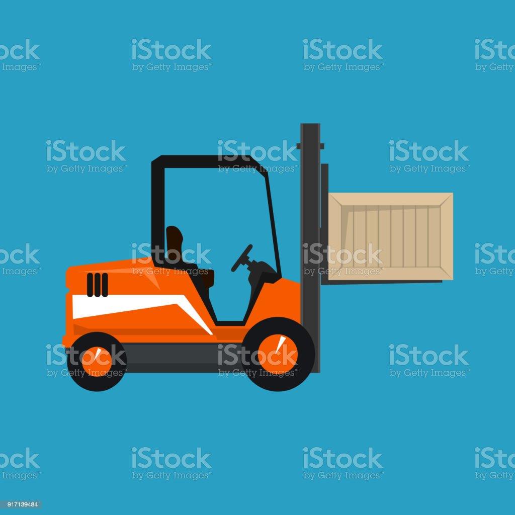 Orange Vehicle Forklift Picks up a Box Isolated