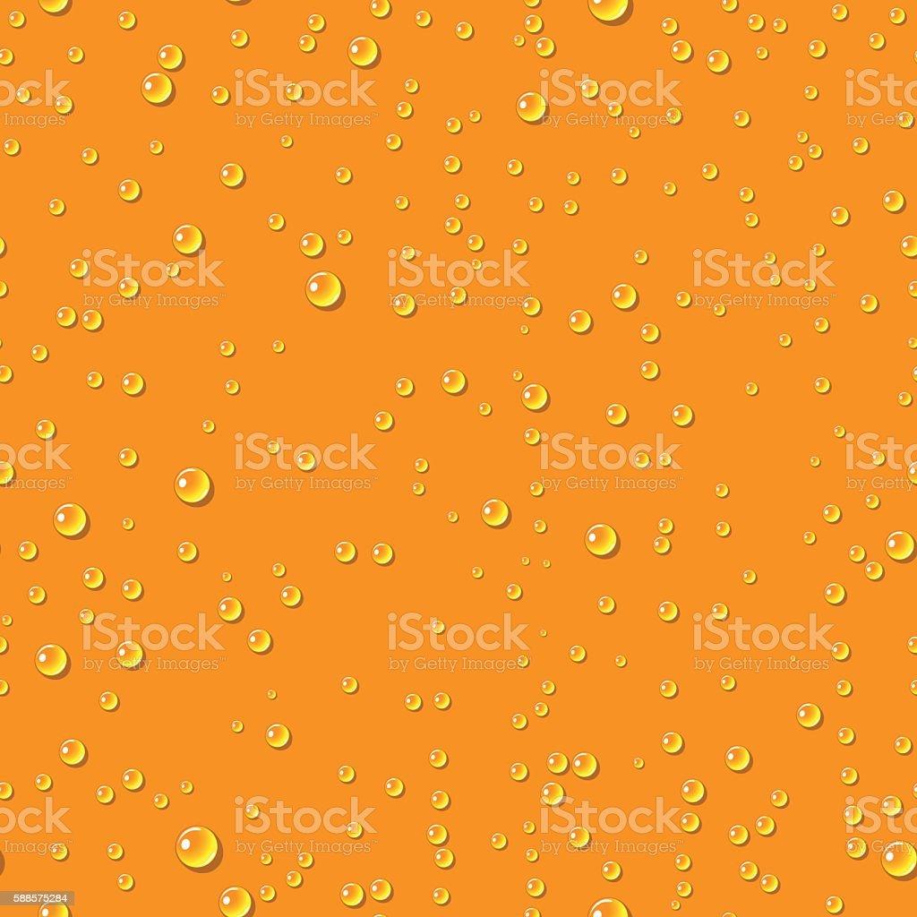 Orange water transparent drops seamless pattern. vector art illustration
