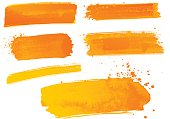 Orange watercolor paint strokes