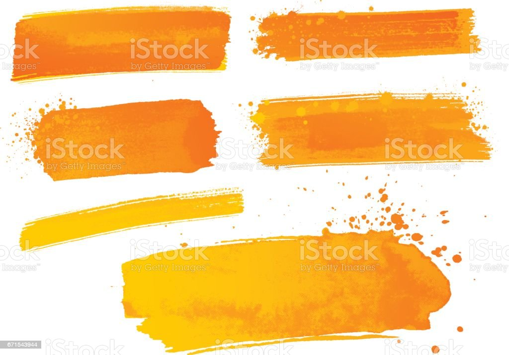 Orange Aquarellfarbe Striche – Vektorgrafik