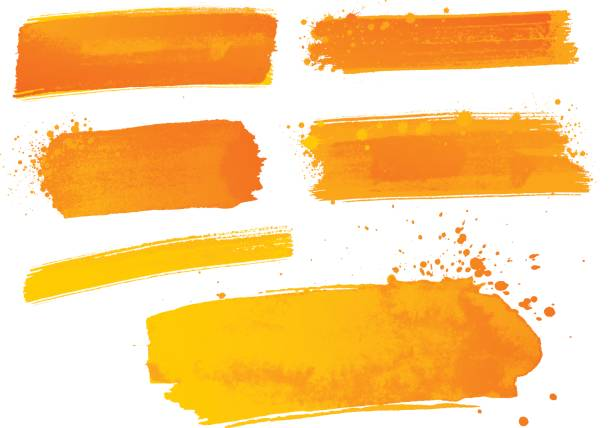 orange watercolor paint strokes - orange color stock illustrations