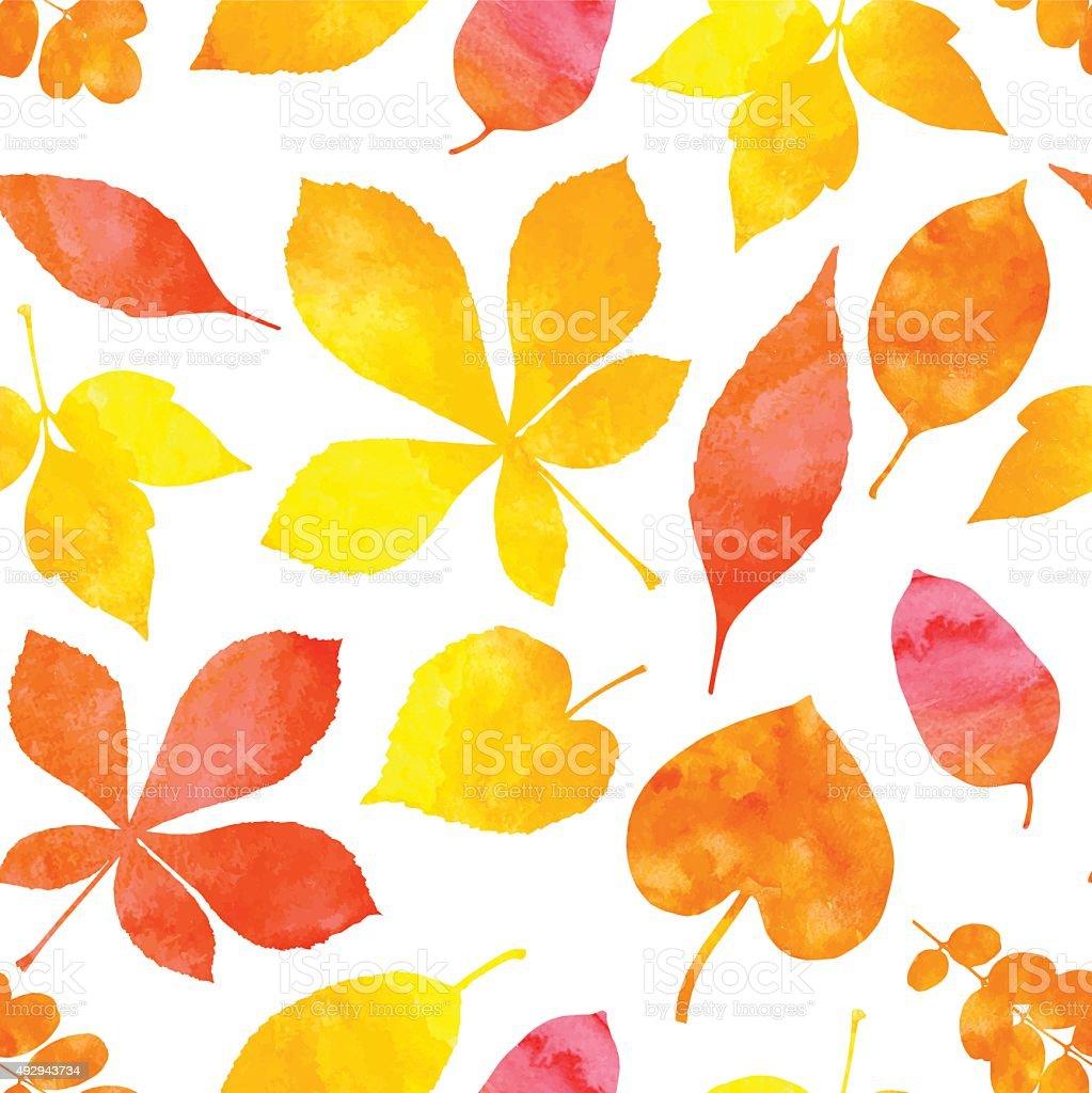 Orange watercolor painted autumn leaves vector seamless pattern vector art illustration